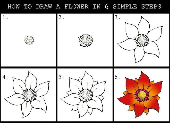 how to draw a flower in six simple steps simple drawing ideas step by step diy tutorial