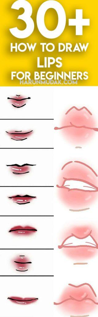 30+ How to Draw Lips for Beginners - Step By Step | HM ART