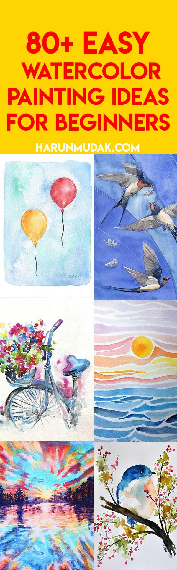 80 Easy Watercolor Painting Ideas For